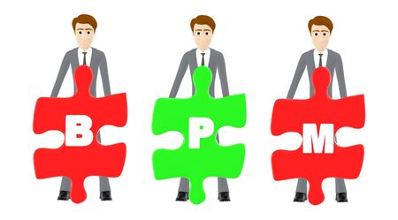 3d character , man three of them holding a each jigsaw with letter alphabets b , p and m in it - bpm concept - 3d rendering