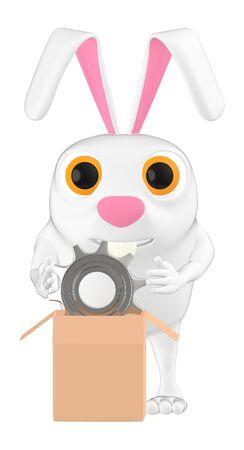 3d character , rabbit holding a cogwheel  gear in a cardboard package- 3d rendering