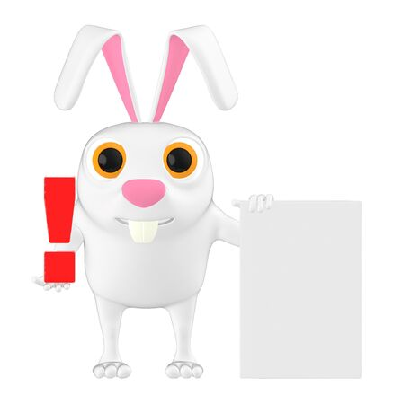 3d character , rabbit holding a exclamation mark and a paper- 3d rendering Stockfoto