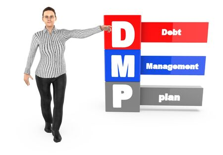 3d character ,woman pointing his hands towards debt managment plan - 3d rendering 스톡 콘텐츠 - 133309738