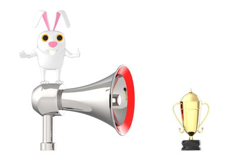 3d character , rabbit standing on top of a loudhailer placed near to a golden trophy - 3d rendering Imagens