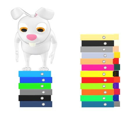 3d characater , rabbit standing over top of stack of files - 3d rendering