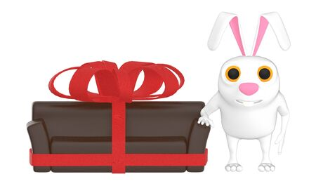 3d character , rabbit and a ribbon wrapped sofa - 3d rendering Imagens