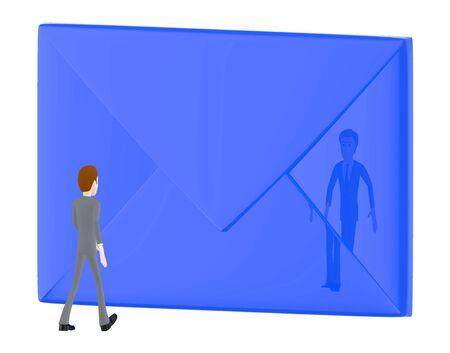 3d character , man walking towards envelope - 3d rendering Фото со стока