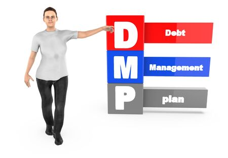 3d character ,woman pointing his hands towards debt managment plan - 3d rendering 스톡 콘텐츠