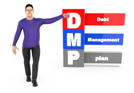 3d character ,man pointing his hands towards debt managment plan - 3d rendering