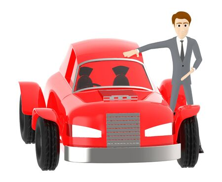 3d character , man standing near to a car - 3d rendering