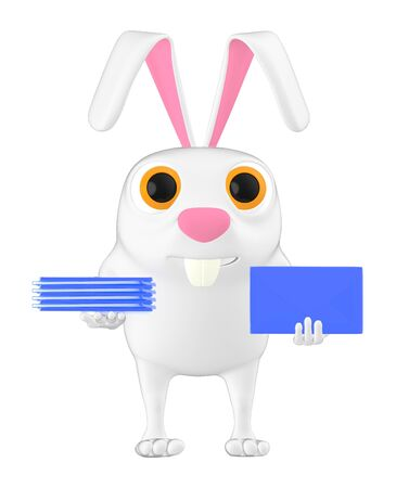 3d character , rabbit holding a envelope