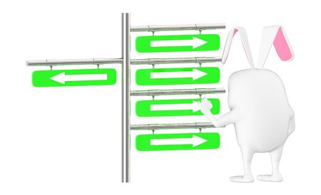 3d character , rabbit looking at a post with arrows suggesting different directions - 3d rendering Stockfoto