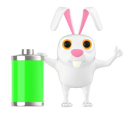 3d character , rabbit and a green battery - 3d rendering