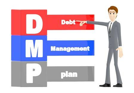 3d character , man debt managment plan - 3d rendering 스톡 콘텐츠