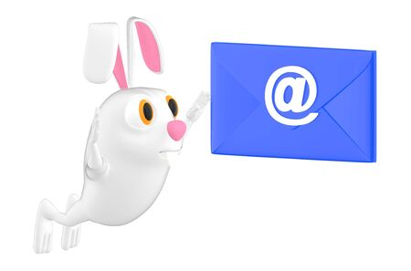 3d character , rabbit and email sign envelope - 3d rendering