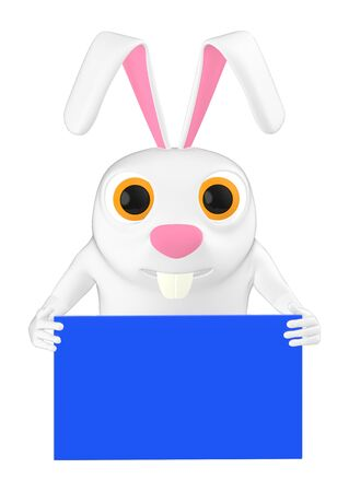 3d character , rabbit holding a envelope - 3d rendering