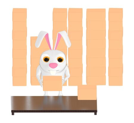 3d character , rabbit stack of cardboard boxes - 3d rendering
