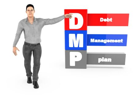 3d character ,man pointing his hands towards debt managment plan - 3d rendering 스톡 콘텐츠 - 133311008