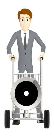 3d character , man moving a cart with a loudspeaker in it - 3d rendering