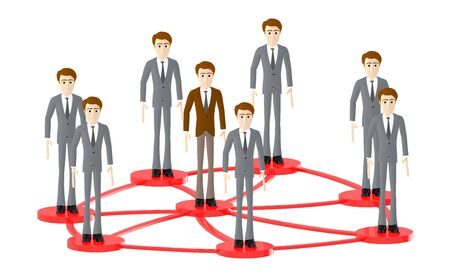 3d character , man people standing in a connected loops - 3d rendering