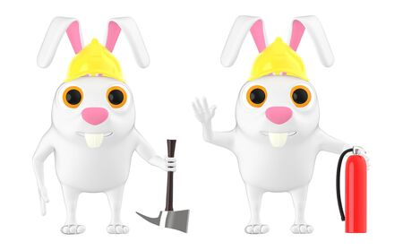 3d character , rabbit wearing safety helmet holding axe and holding fire extinguisher - 3d rendering Stockfoto