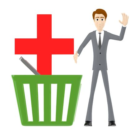 3d character , man , basket and red cross sign in it - 3d rendering