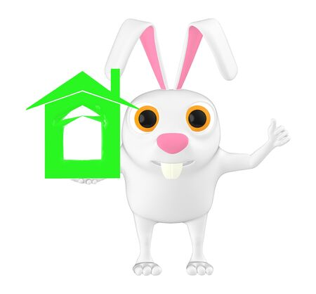 3d character , rabbit with a house sign - 3d rendering