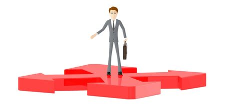 3d character , man standing , four direction arrows , confused - 3d rendering