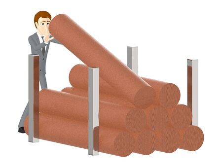 3d character , man lifting up a wooden log from a stack of wooden logs - 3d rendering