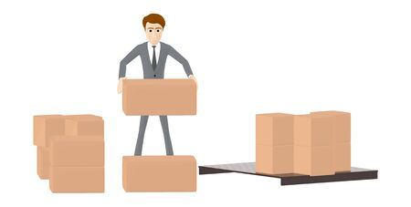 3d character , man holding a cardboard box in hand , cardboard boxes in the ground - 3d rendering