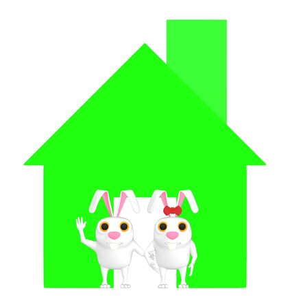 3d character , rabbit , male and female standing near a house sign - 3d rendering