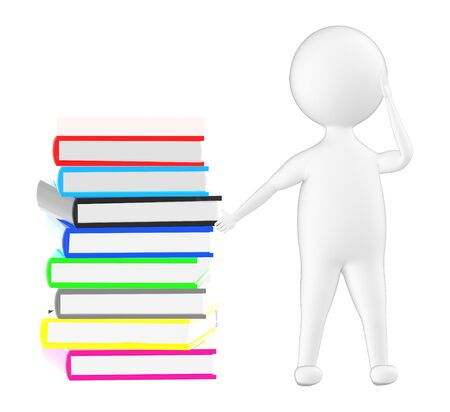 3d character , pointing his hand towards a pile of books - 3d rendering
