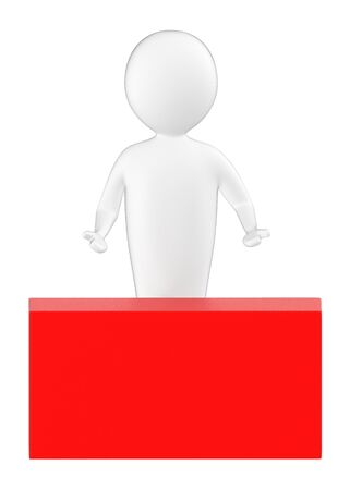 3d character , man and a red empty copyspace box - 3d rendering