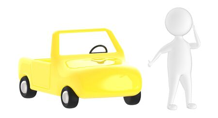 3d character , man following a crazy running car without a driver- 3d rendering