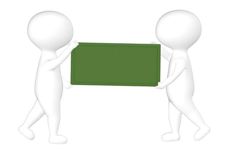 3d character , man two character and a empty green board- 3d rendering Stock fotó