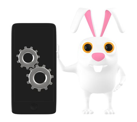 3d character , rabbit with mobile phone and cog wheel - 3d rendering