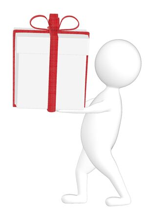 3d character , man carrying a wrapped gift - 3d rendering