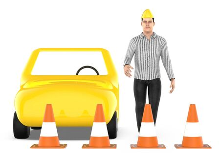 3d character , man , traffic cones around a car - 3d rendering