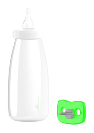 3d empty baby bottle and a pacifier - 3d rendering