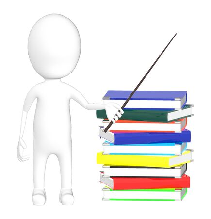 3d character , man holding a stick and standing near to a pile of books - 3d rendering Reklamní fotografie