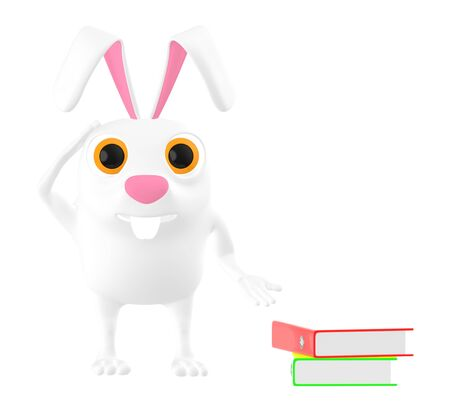3d character , rabbit with his hands on head and books on ground - 3d rendering