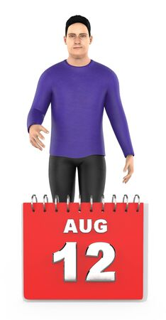 3d character , man , smiling standing next o august 12 calender - 3d rendering