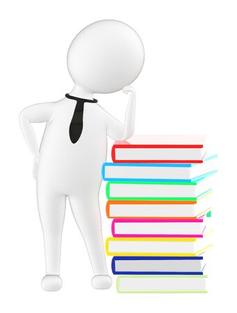 3d character , man leaning towards a pile of books - 3d rendering