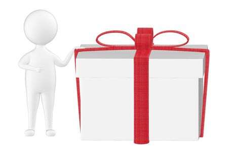 3d character , man presenting a wrapped gift - 3d rendering Stock Photo