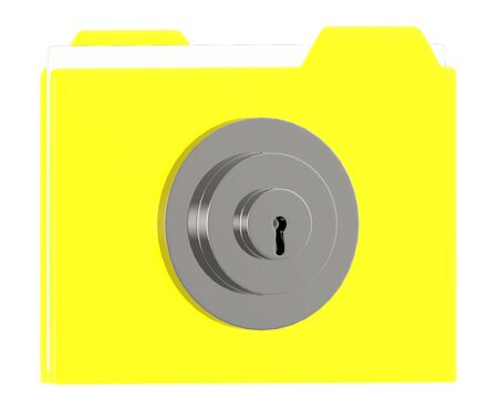 3d file folder and lock - 3d rendering