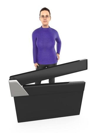 3d character , woman and a clapperboard- 3d rendering 写真素材
