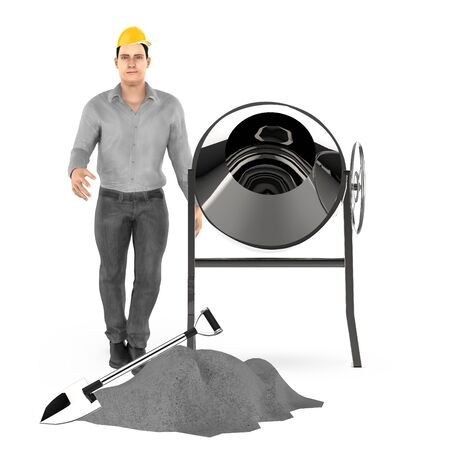 3d character , man wearing hard cap , standing near to concreate mixer , shovel and some concreate on ground- 3d rendering