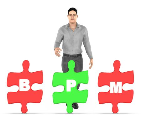 3d character , man and three of them holding a each jigsaw with letter alphabets b , p and m in it - bpm concept - 3d rendering