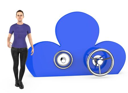 3d character , woman and a cloud shaped locker - 3d rendering