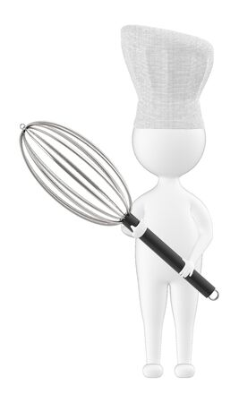 3d character , man chef holding mixer spoon - 3d rendering