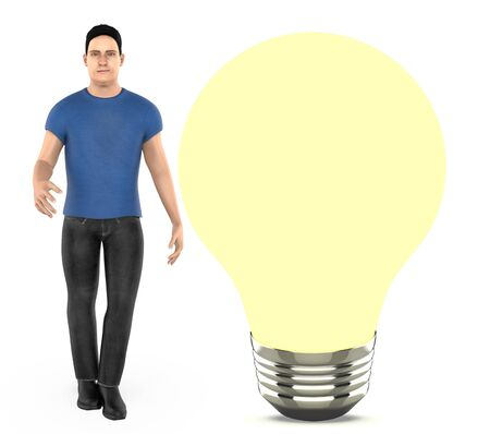 3d character, man standing near to a iluminated bulb - 3d rendering Stock fotó
