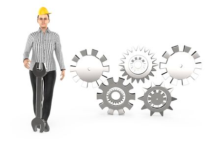 3d character , woman worker wearing safety cap and standing near to a different cog wheels - 3d rendering Stockfoto