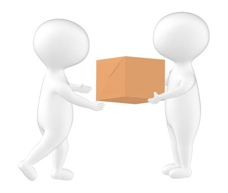 3d character , man giving a cardboard box to another- 3d rendering Stock fotó